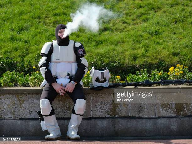 Stormtrooper takes a break during the Scarborough Sci-Fi event held at the seafront Spa Complex on April 21, 2018 in Scarborough, England. The North...