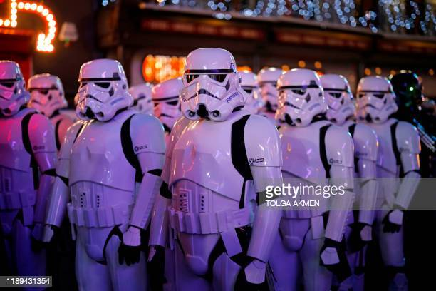 Stormtroopers appear at the European film premiere of Star Wars The Rise of Skywalker in London on December 18 2019