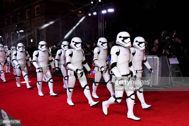 Stormtroopers arrive to the European Premiere of 'Star Wars The Last Jedi' at Royal Albert Hall on December 12 2017 in London England