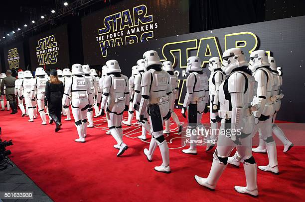 Stormtroopers arriving for the European Premiere of 'Star Wars The Force Awakens' at Leicester Square on December 16 2015 in London England