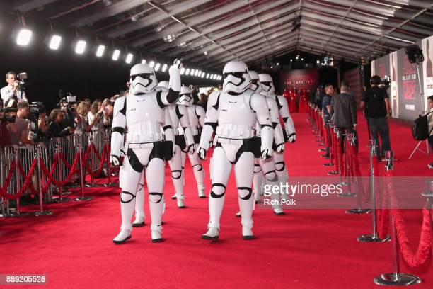 Stormtroopers at the world premiere of Lucasfilm's Star Wars The Last Jedi at The Shrine Auditorium on December 9 2017 in Los Angeles California