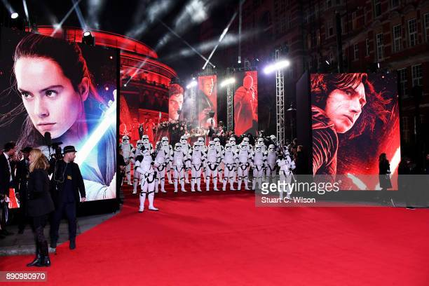 Stormtroopers attend the European Premiere of 'Star Wars The Last Jedi' at Royal Albert Hall on December 12 2017 in London England