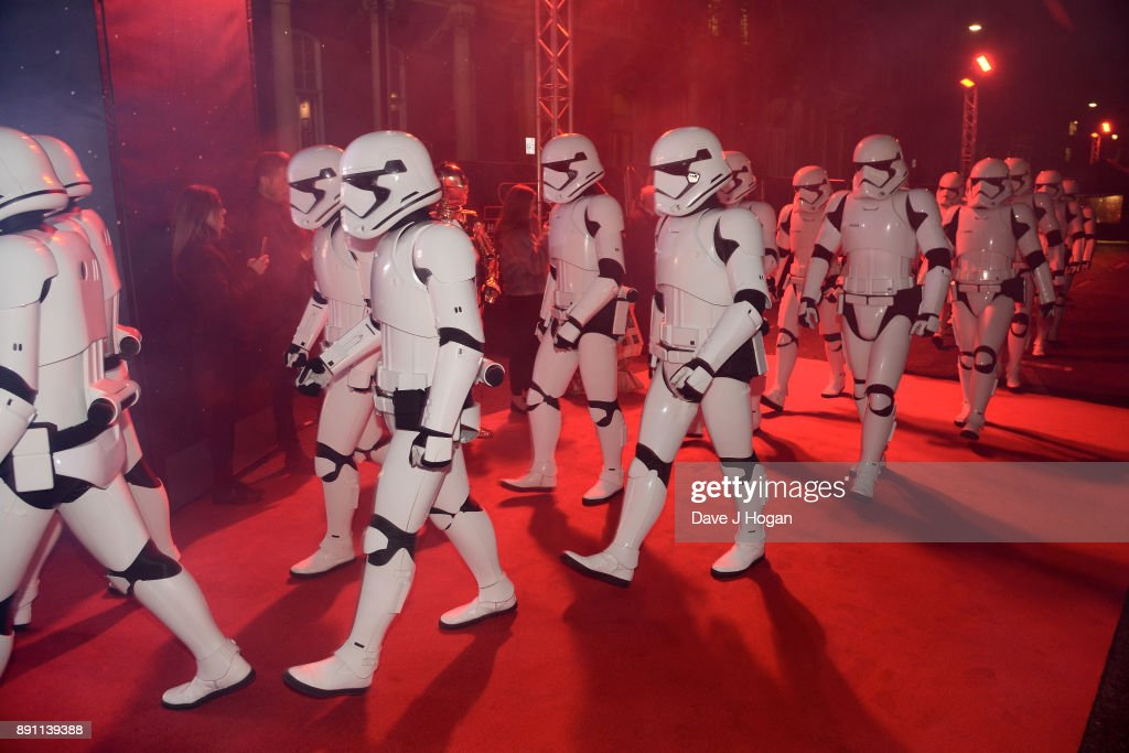 Stormtroopers attend the European Premiere of 'Star Wars: The Last Jedi' at Royal Albert Hall on December 12, 2017 in London, England.