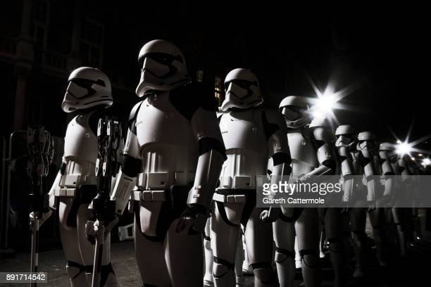 Stormtroopers march the red carpet at the European Premiere of Star Wars: The Last Jedi at the Royal Albert Hall on December 12, 2017 in London,...
