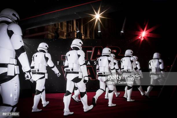 Stormtroopers march the red carpet at the European Premiere of Star Wars The Last Jedi at the Royal Albert Hall on December 12 2017 in London England