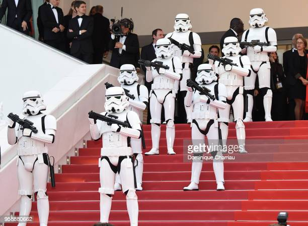 Stormtroopers on the red carpet at the screening of 'Solo A Star Wars Story' during the 71st annual Cannes Film Festival at Palais des Festivals on...