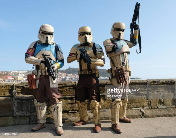 Stormtroopers pose during the Scarborough Sci-Fi event held at the seafront Spa Complex on April 21, 2018 in Scarborough, England. The North...