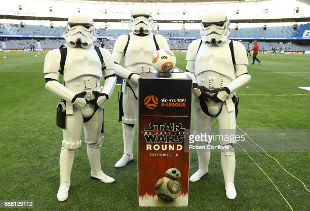 Stormtroopers pose prior to the round 10 ALeague match between the Melbourne Victory and Adelaide United at Etihad Stadium on December 8 2017 in...
