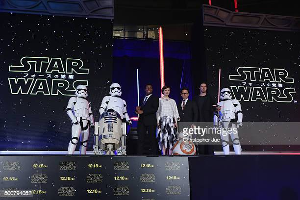 Stormtroopers R2D2 John Boyega Daisy Ridley JJ Abrams BB8 Adam Driver and Stormtrooper attend the 'Star Wars The Force Awakens' fan event at the...