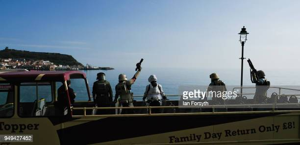Stormtroopers take to an open topped bus during the Scarborough Sci-Fi event held at the seafront Spa Complex on April 21, 2018 in Scarborough,...