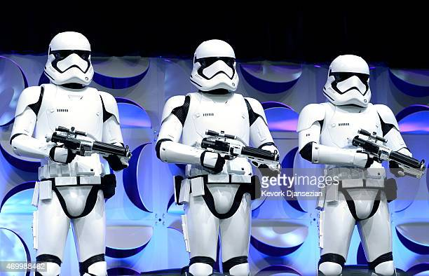 Stormtroopers with newly designed armor appear on stage during the kickoff event of Disney's Star Wars Celebration 2015 at the Anaheim Convention...