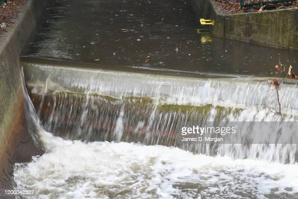 A stormwater drain overflows in North Sydney for the first time in months on January 17 2020 in Sydney Australia A severe thunderstorm warning has...