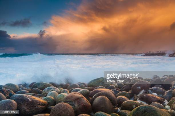 Stormy Barents Sea at sunset