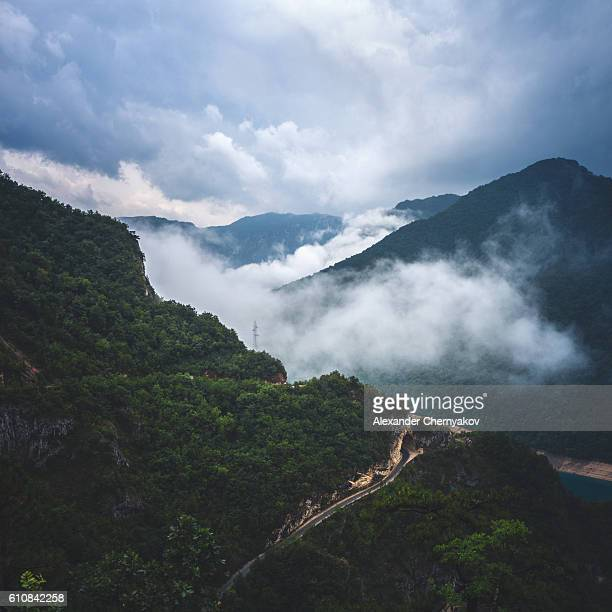 Stormy clouds over mountains