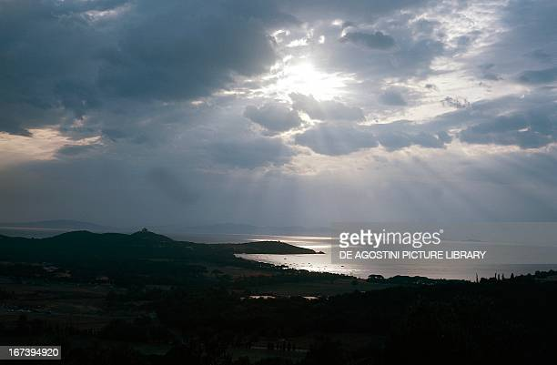 Stormy clouds over the coast of Tuscany Region Italy