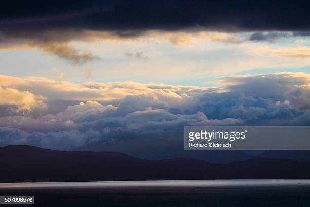 Stormy clouds with touches of golden light, over Skye, Scotland