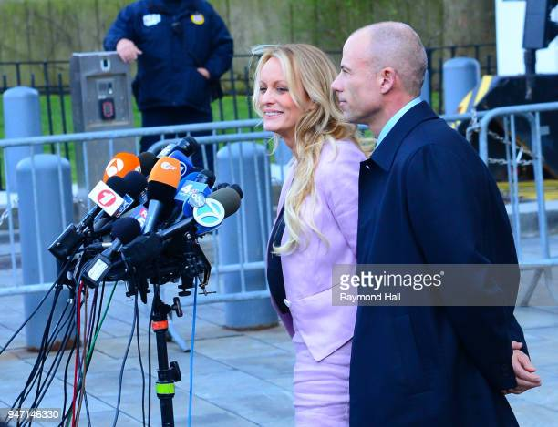 Stormy Daniels and Michael Avenatti are seen outside federal court in downtown Manhattan on April 16 2018 in New York City