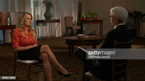 Stormy Daniels in her interview with Anderson Cooper to be broadcast on 60 MINUTES Sunday March 25 on the CBS Television Network Image is a frame grab