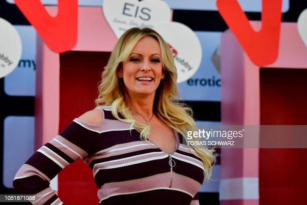 Stormy Daniels the porn star who claims to have slept with US President Donald Trump over a decade ago opens Berlin erotic fair Venus in Berlin on...