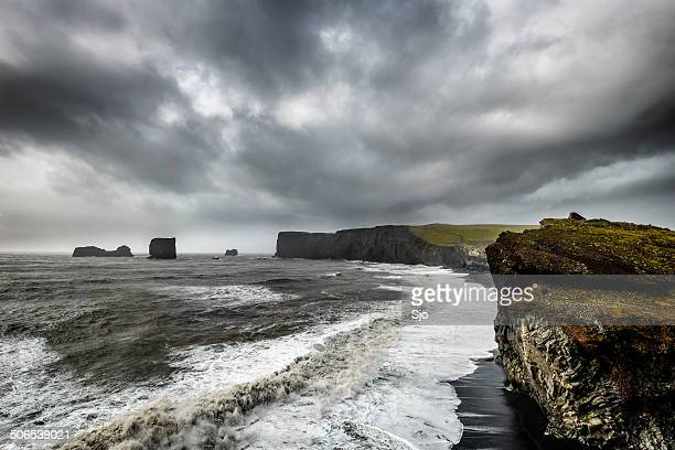 Stormy Iceland at the cliffs of Dyrh0laey