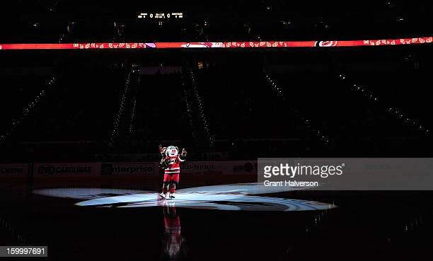 Stormy mascot of the Carolina Hurricanes performs during a game against the Buffalo Sabres during play at PNC Arena on January 24 2013 in Raleigh...