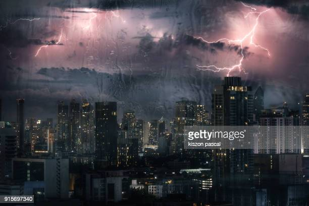 stormy night in Bangkok with lightning , Thailand , Southeast Asia