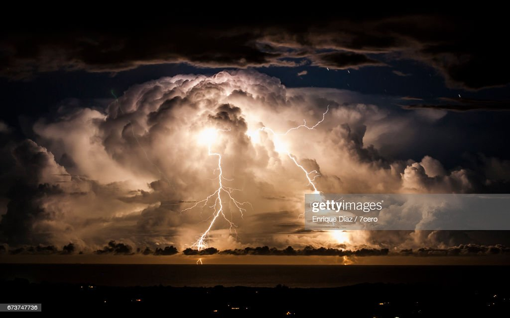 Stormy night over Byron Bay : Stock Photo