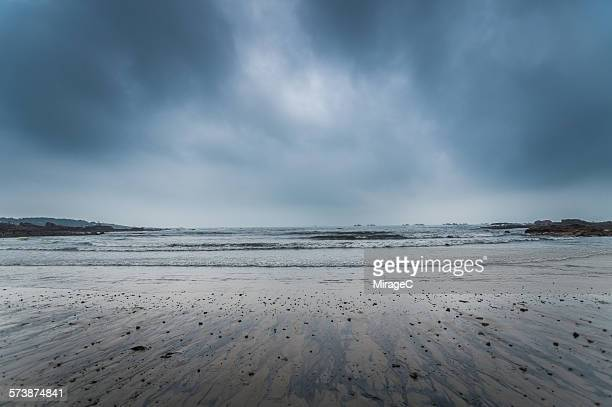 Stormy overcast sky and beach in Qingdao