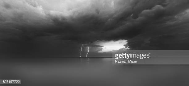 A stormy scene was captured in monochrome.
