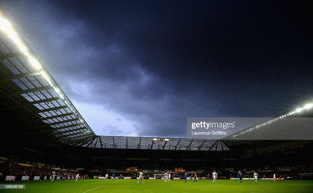Stormy skies develop during the Barclays Premier League match between Swansea City and Chelsea at Liberty Stadium on November 3, 2012 in Swansea, Wales.