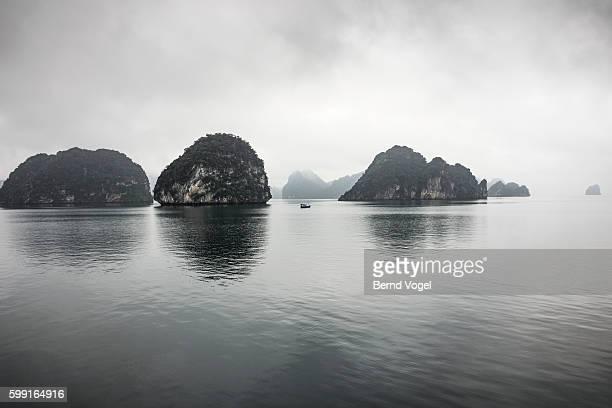 Stormy skies over sea rocks, Halong Bay, Vietnam