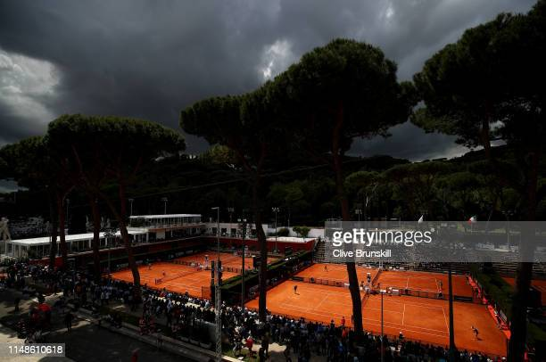 Stormy skies over the outside courts threefourfive and six during day one of the Internazionali BNL d'Italia 2019 tennis at Foro Italico May 12 2019...
