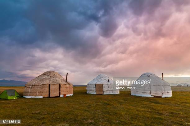 Stormy skies over the yurts. Kyrgyzstan, Son-Kul lake