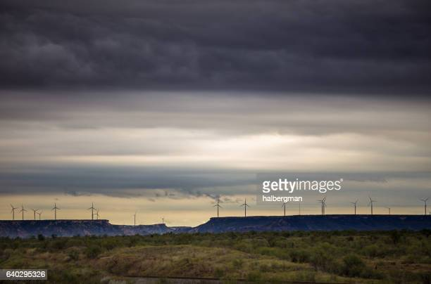 stormy sky approaching west texas wind farm - lubbock stock pictures, royalty-free photos & images