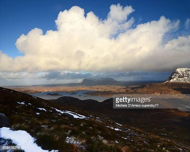 Stormy sky on the wild Assynt landscape