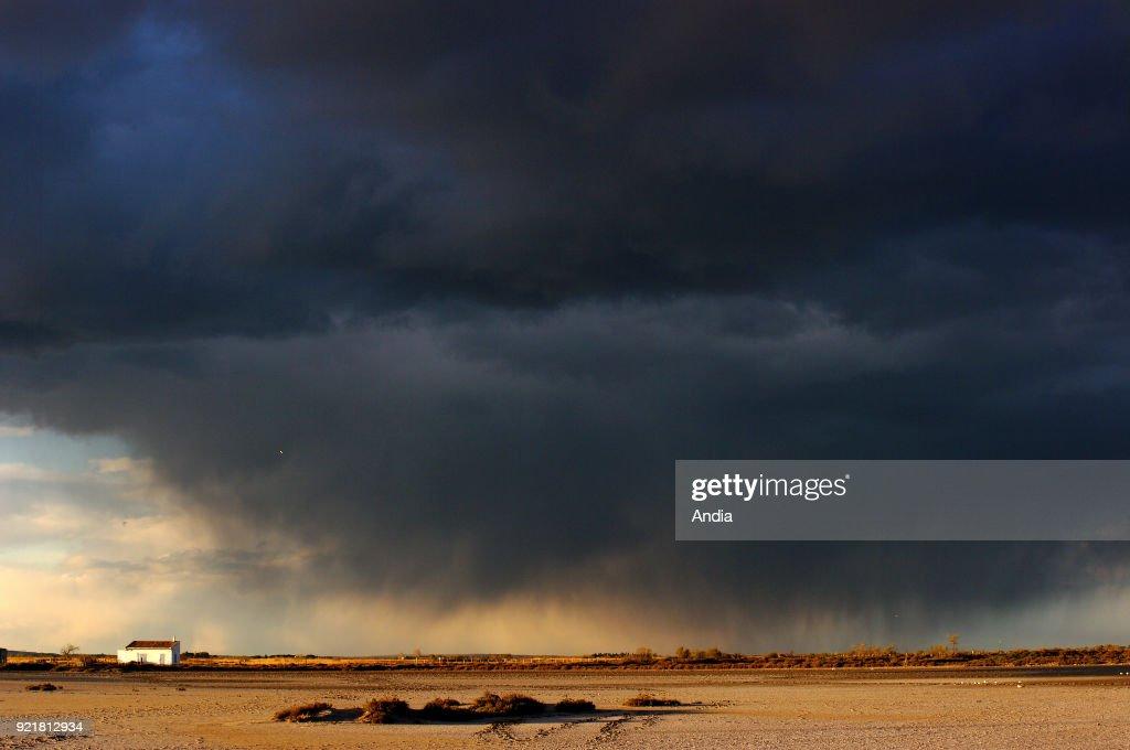 Stormy sky over the Camargue Regional Nature Park.