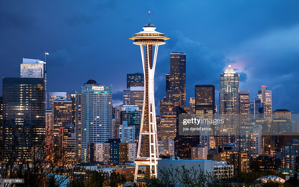 Stormy Sky, Space Needle, Seattle, Washington, America : Stock Photo