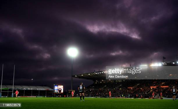 Stormy sky's are seen over Sandy Park during the Gallagher Premiership Rugby match between Exeter Chiefs and Saracens at Sandy Park Stadium on...