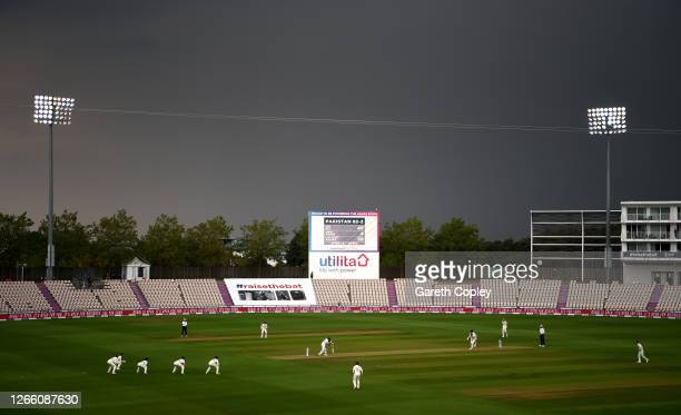 Stormy sky's are seen over the Ageas Bowl during Day One of the 2nd #RaiseTheBat Test Match between England and Pakistan at The Ageas Bowl on August...