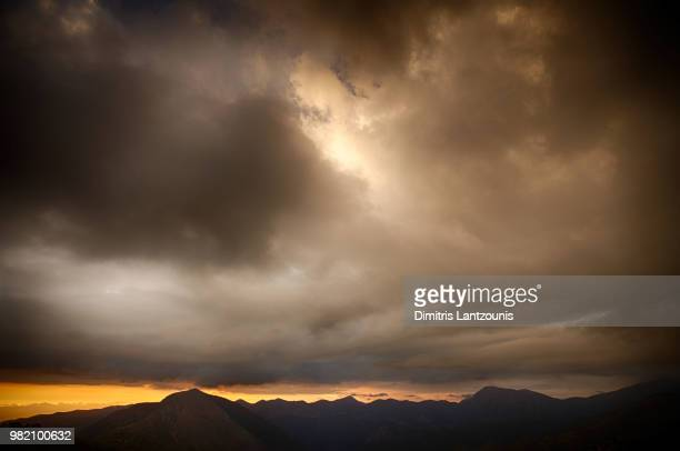 Stormy sunset at mount Taygetos