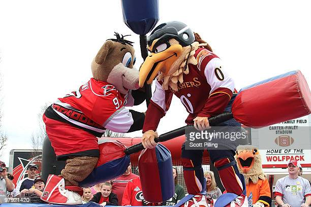 Stormy the Ice Hog of the Carolina Hurricanes goes toe to toe in a jousting contest against Thrash of the Atlanta Thrashers during a pregame carnival...