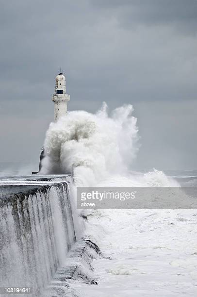 Stormy Waves Crashing at Aberdeen Harbour Breakwater
