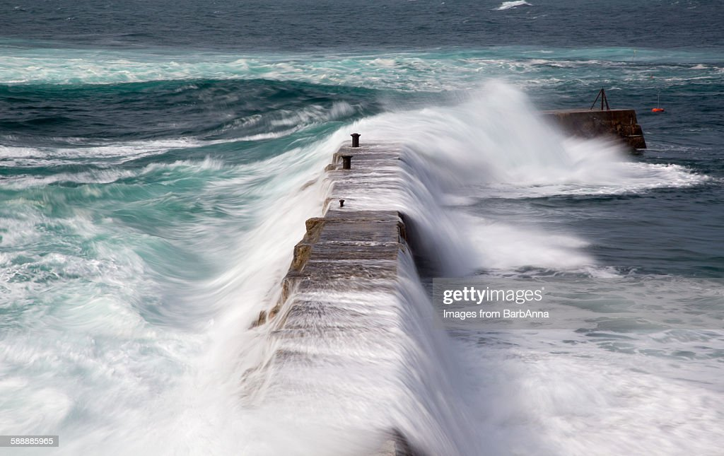 Stormy weather at Sennen cove, Cornwall, England : Foto de stock