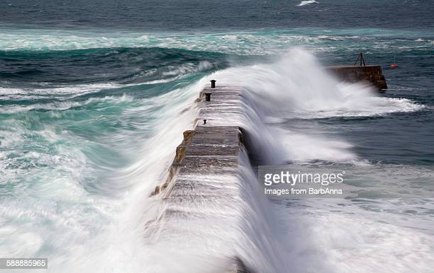Stormy weather at Sennen cove, Cornwall, England