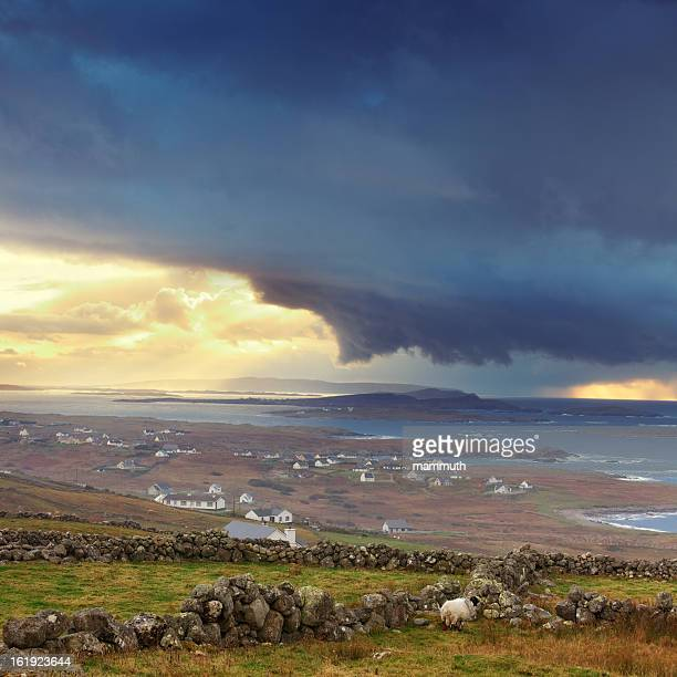stormy weather in ireland - county donegal stock photos and pictures