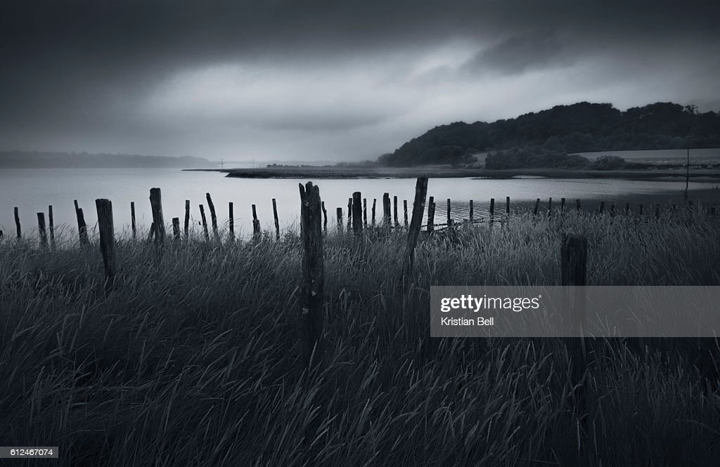 Stormy weather over an Estuary in Brittany, France : Stock Photo