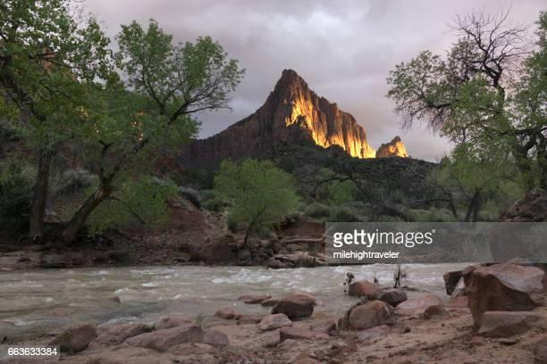 Stormy Zion National Park Watchman sunset Virgin River Utah