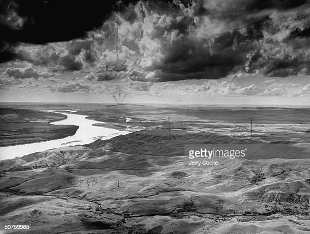 Stormylooking clouds threatening Nebraska open country