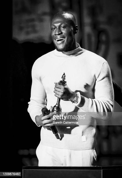 Stormzy accepts the Best Male Solo Artist award during The BRIT Awards 2020 at The O2 Arena on February 18 2020 in London England