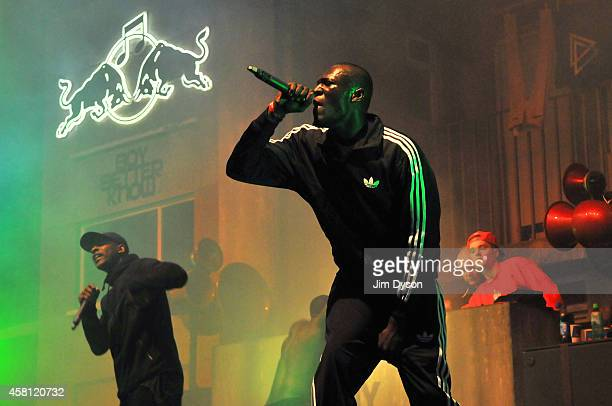Stormzy and Boy Better Know perform on stage at Red Bull Culture Clash at Earls Court on October 30 2014 in London England